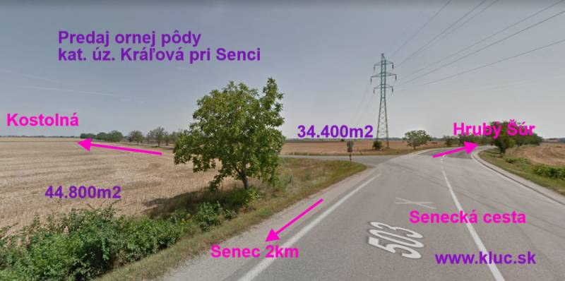 Agrarian and forest land, Sale, Senec, Slovakia